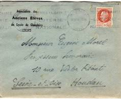 CHAMBERY RP SAVOIE 1943 Krag 'loterie Nationale' (CHA212) Petain 1f50 N° YT 517 Association Anciens Eleves Lycée - Marcophilie (Lettres)