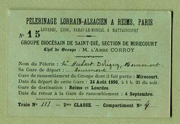 """"""" PELERINAGE LORRAIN-ALSACIEN A REIMS """" Groupe De SAINT-DIE - MIRECOURT  (1896) - Autres"""