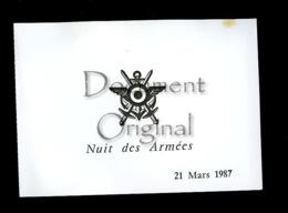 Militaria - Correspondance - Nuit Des Armees - 21 Mars 1987 - Palais De La Bourse - Militaria