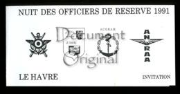 Militaria - Correspondance - Nuit Des Officiers De Reserve 1991 - Le Havre - Militaria