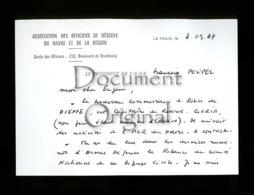 Militaria - Correspondance - Officiers De Reserve Du Havre - 8 9 1987 - Le Havre - Militaria
