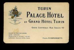 Carte De Visite Publicitaire - Turin - Palace Hotel Et Grand Hotel - Turin - Tarjetas De Visita