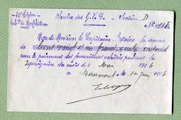 """Document De 1916 : """" G.V.C. De NEUFCHATEAU """" - Documents"""