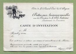 """CHASSE : """" INVITATION : BATTUE AUX ANIMAUX NUISIBLES """"  ( Haute-Marne - 21ème Région Militaire ) - Historical Documents"""