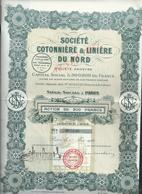 ACTION SOCIÉTÉ COTONNIÈRE & LUNIÈRE DU NORD : - Textile