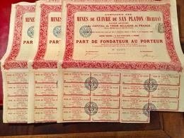 Cie  Des  Mines  De  Cuivre  De SAN  PLANTON ( HUELVA ) ------Lot  De  3  Parts  De  Fondateur - Mines