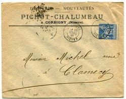 NIEVRE De CORBIGNY Dateur T 18 Sur Env. Du 18/03/1891 En Tête Draperie PICHOT CHALUMEAU - Postmark Collection (Covers)