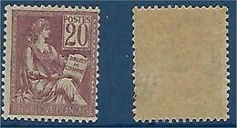 """FR YT 113 """" Mouchon 20c. Brun-lilas """" 1900-01 Neuf* - 1900-02 Mouchon"""