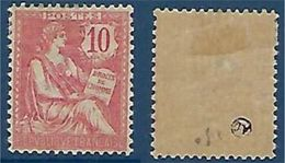 """FR YT 124 """" Mouchon 10c. Rose """" Neuf* - 1900-02 Mouchon"""