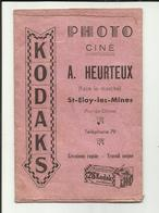 """63 . SAINT ELOY LES MINES . POCHETTE POUR PHOTOGRAPHIE STUDIO  """" A. HEURTEUX """" KODAKS . 1946 - Matériel & Accessoires"""