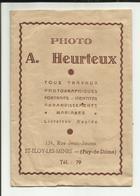 """63 . SAINT ELOY LES MINES . POCHETTE POUR PHOTOGRAPHIE  . STUDIO  """" A. HEURTEUX """"  . 1946 - Matériel & Accessoires"""