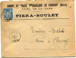 NIEVRE De CORBIGNY Dateur T 18 De 1890 Sur Env. En Tête Ciment PIERA BOULET - Postmark Collection (Covers)