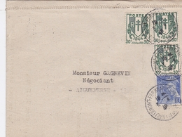 FRANCE LETTRE 1946 CLERMONT FERRAND N° 671 PAR 3 TIMBRES - Marcophilie (Lettres)