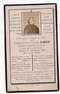 PRIEZ POUR LE REPOS  LEONARD ESPRIT FORTUNE SIMON CURE DE ST EUSTACHE PARIS  1873 GENEALOGIE CARTE DE DECES - Devotion Images
