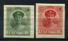 LUXEMBOURG (  POSTE ) : Y&T N°  34/35  TIMBRES  NEUFS  AVEC  TRACE  DE  CHARNIERE . - 1921-27 Charlotte Voorzijde