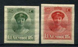 LUXEMBOURG (  POSTE ) : Y&T N°  34/35  TIMBRES  NEUFS  AVEC  TRACE  DE  CHARNIERE . - 1921-27 Charlotte De Face