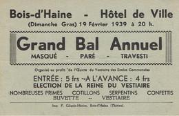Bois-d'Haine Invitation Au Grand Bal Annuel De L'oeuvre Du Vestiaire (19/2/1939) - Programmes