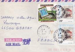 AFRIQUE COTE D'IVOIRE LETTRE PAR AVION EN 1990 - Costa D'Avorio (1960-...)