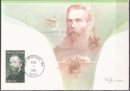 USA 1984 Herman Melville Writer (1819-1891), Boat, Whale, Parashute Mi 1703 Maximum Card - Esposizioni Filateliche