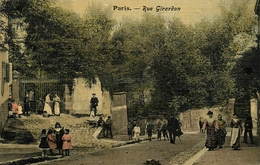 Paris 18ème - XVIII - Rue Girardon - Cpa Toilée Colorisée 1906 - Belle Animation - Arrondissement: 18