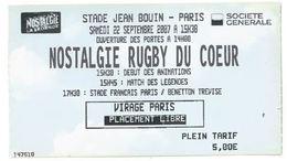 Ticket Entrée Stade Jean Bouin Paris Nostalgie Rugby Du Coeur Stade Français / Benetton Trévise 22/09/2007 - Eintrittskarten