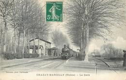 CPA 69 Rhone Chazay Marcilly La Gare Train Vapeur Locomotive Chemin De Fer Azergues - Autres Communes