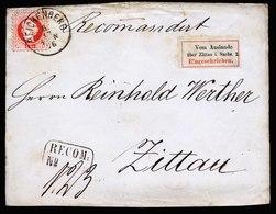 A5929) DR Briefvorderseite Reichenberg 1876 Mit R-Zettel Vom Auslande über Zittau... - Deutschland