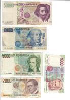 Italy Last Series Set 50000 - 10000 - 5000 - 2000 - 1000 Lire Lotto - [ 2] 1946-… : Repubblica