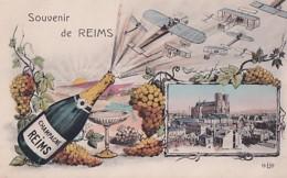 SOUVENIR DE REIMS    BOUTEILLE DE CHAMPAGNE  + AVIONS +1 VUE - Reims