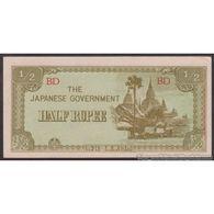 TWN - BURMA 13b - ½ Rupee 1942 Block BD AU/UNC - Myanmar