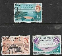 Rhodesia & Nyasaland, 1960 Opening Of  Kariba Dam  1'3, 2'6, 5/=; Used - Rhodesia & Nyasaland (1954-1963)