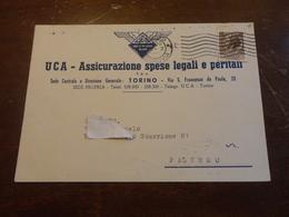 CARTOLINA PUBBLICITARIA UCA ASSICURAZIONE SPESE LEGALI E PERITALI-PALERMO-VIAGGIATA CON 20 LIRE SIRACUSANA-1954 - Carte Geografiche
