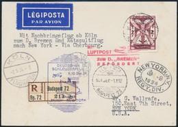 1934 Katapult Posta Ajánlott Levelezőlap 'BUDAPEST' - New York, Rendkívüli Ritkaság, Csak Nagyon Kevés Létezik RRRR! - Timbres
