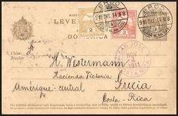 1911 Díjkiegészített Díjjegyes Levelezőlap Brodból A Közép-amerikai Costa Ricába. Rendkívül Ritka Destináció!! - Timbres