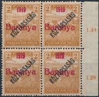 ** Baranya I. 1919 Arató/Köztársaság 2f Próbanyomat Piros Felülnyomással ívszéli Négyestömbben, 2 érték Antikva Számokka - Timbres