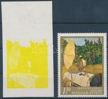 ** 1967 Festmények III. 1,50Ft  Vágott ívszéli Bélyeg Magenta, Ciánkék, Fekete és Arany Színnyomat Nélkül. A Szakirodalo - Timbres