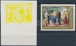 ** 1967 Festmények III. 1,70Ft  Vágott ívszéli Bélyeg Magenta, Ciánkék, Fekete és Arany Színnyomat Nélkül. A Szakirodalo - Timbres