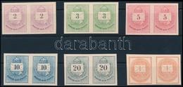 (*) 1874 Színes Számú Krajcáros + Hírlapbélyeg, Fogazatlan Próbanyomatok Kartonpapíron, 6 Klf érték Párokban, Rendkívül  - Timbres
