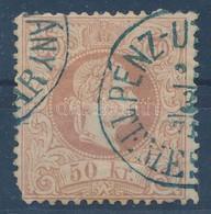 O 1867 50kr Kék Temesvári Pénzutalvány Bélyegzéssel (180.000) (sarokfog Hiány / Short Corner Left Below) - Timbres