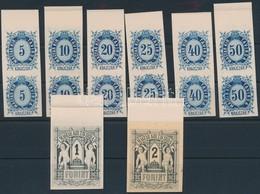 (*) 1874 Távirda Sor, Fogazatlan Próbanyomatok Kartonpapíron, A Krajcáros értékek ívszéli Párokban + A 2 Záróérték, Ezek - Timbres