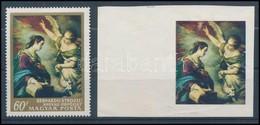 (*) 1968 Festmények V. 60f ívszéli Vágott Fázisnyomat Arany Szín Nélkül!  + Támpéldány, Certificate: Glatz - Timbres