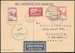 1931 ápr. 1. Zeppelin Levelezőlap Második Dél-amerikai Repülés 'BUDAPEST' - Victoria (Brazília) RR! - Timbres