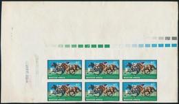 (*) 1971 Lósport (II.) 40f érték ívsarki Vágott Hatostömb Nagy ívszélekkel Nyomdai Jelzésekkel, Sárga Színnyomat Nélkül - Timbres