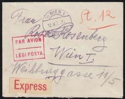 1922 Expressz Légi Levél Bécsbe 48K Arató + Parlament Bérmentesítéssel / Express Airmail Cover To Vienna - Timbres