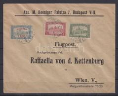 1918.jul. 8. Légi Levél Bécsbe 1K50f Repülő Posta Bélyeggel és 1.80K Kiegészítő Bérmentesítéssel / Mi 210 With Additiona - Timbres