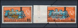 (*) 1972 Mozdonyok 80f ívszéli Vágott Fázisnyomat, A Narancs Szín Látványos Elcsúszásával + Támpéldány - Timbres