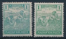 * 1920 Arató 1 K Zöld Helyett Kék Színben + Támpéldány - Timbres