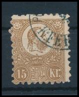 O 1871 Kőnyomat 15kr Sárgásbarna (30.000) (jobb Alsó Sarokban Papírelvékonyodás / Thin Paper Right Below) - Timbres