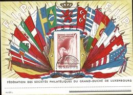 1939 Carte FSPL Drapeaux Avec Vue Mondorf Les Bains Au Verso, Prifix: C5a, 2Scans - Enteros Postales