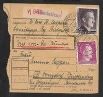 1944 - DR - PAKETBEGLEITBRIEF POLEN SIEMIATITZE Siemiatycze 1x 2Rm, 1x 40Pfg, 1x5Pfg - Allemagne